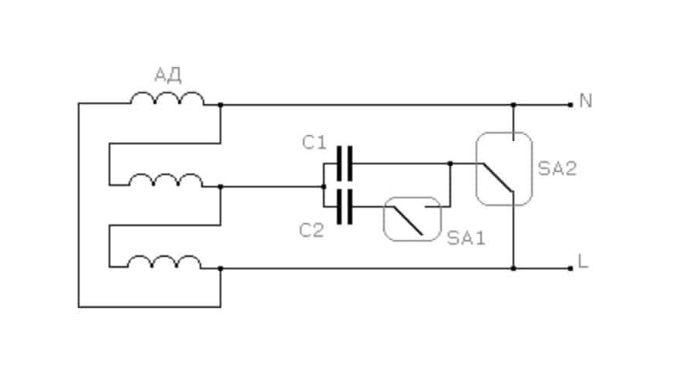 подключение двигателя 380 на 220