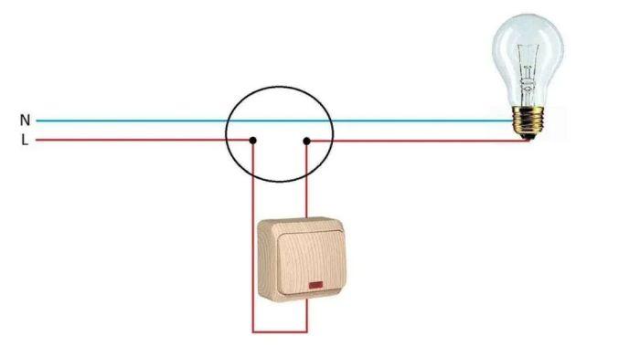 как подключить лампочку через выключатель схема